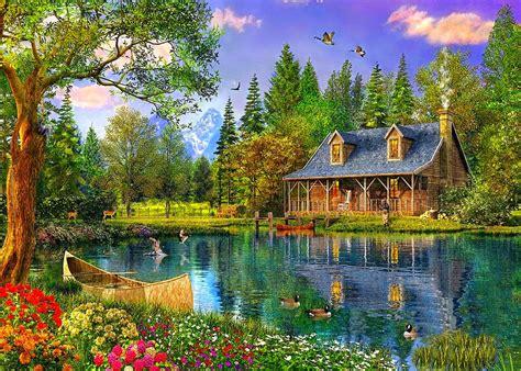 Lakes, Spring, Cottage, Flowers, Deers, Lake, Water, Trees ...