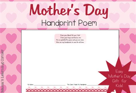 mothers day poems for preschoolers s day handprint poem mamas learning corner 742