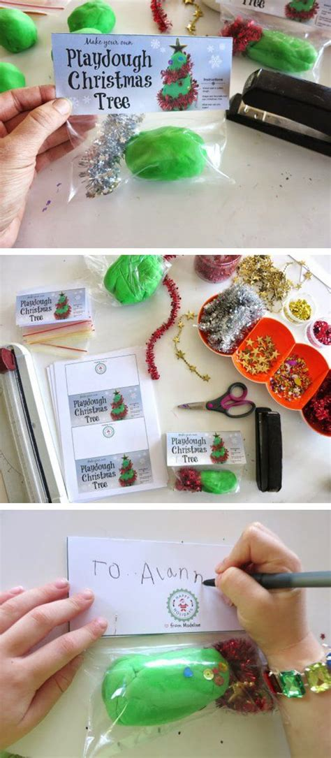 preschool homemade christmas gifts diy chistmas tree playdough gift bags with free printable labels trees nursing