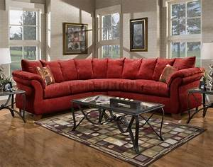 Red fabric modern 2pc sectional sofa w wooden legs for Modern red fabric sectional sofa