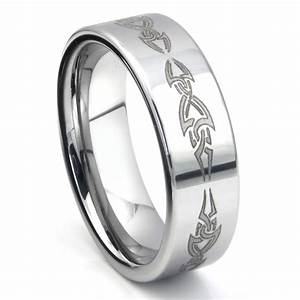 tungsten carbide laser engraved tribal wedding band ring With laser engraved wedding rings