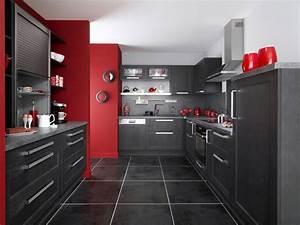 une cuisine noire pour une deco lumineuse travauxcom With idee deco cuisine avec modele cuisine grise et blanc