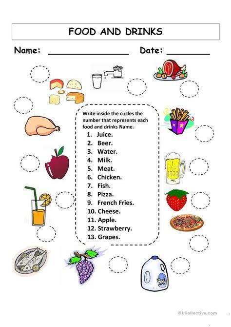 food and drinks worksheets pesquisa figure