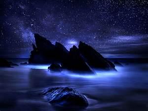 Beautiful Midnight Dark Night Oceanscape – Abstract ...