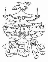Coloring Tree Pages Christmas Blank Printable sketch template