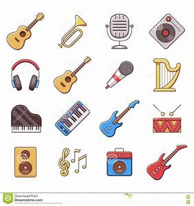 Linear Music Instruments Vector Color Flat Icons Stock ...
