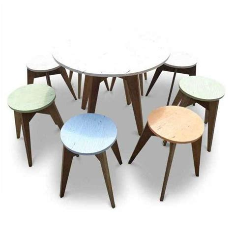 4 Seater Eco Recycled Rustic Cafe Style Round Dining Table