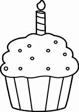 Cupcake Coloring Pages Birthday Outline Template Cupcakes Colouring Printable Simple Clipart Clip Cool Wecoloringpage sketch template
