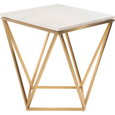 Dynamic Home Decor  Jasmine Side Table w White Marble on