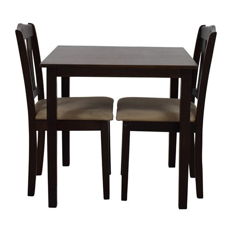Buy Dining Table Chairs by 46 Wood Dining Table And Beige Upholstered Chairs