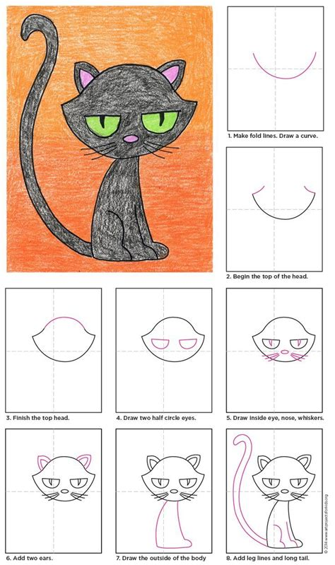 draw   cute black cat  halloween
