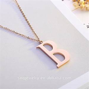 gold steel rose tone big initial letter b alphabet pendant With big letter necklace gold