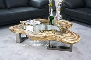 Wohnzimmertisch Mit Glasplatte : couchtisch aus einer baumscheibe mit glasplatte der tischonkel ~ Markanthonyermac.com Haus und Dekorationen