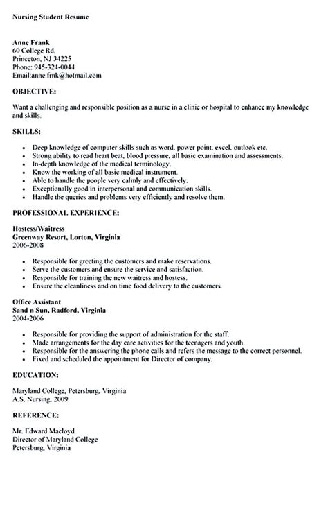 Resume Exles For Nursing Students by Nursing Student Resume Must Contains Relevant Skills