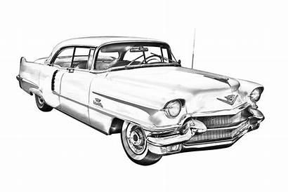 Cadillac Deville Sedan Illustration 1956 Classic Prints