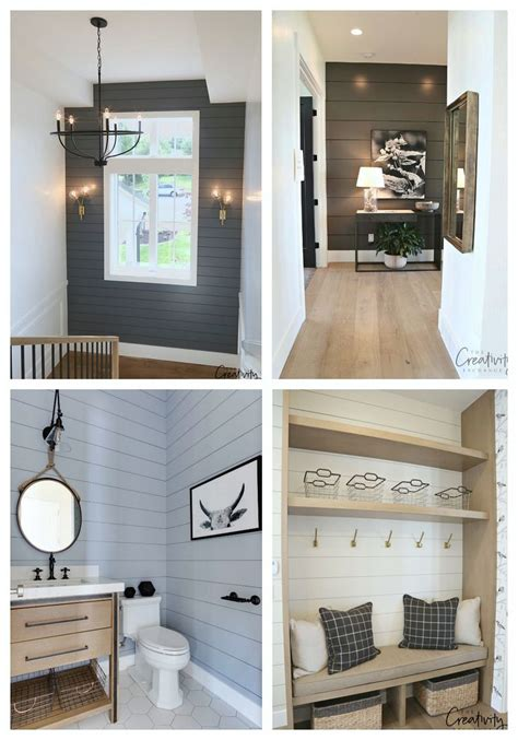 painted shiplap accent walls  rich colors painting