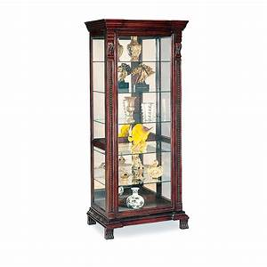 $622 45 Curio Cabinet with Ornate Edges in Dark Brown