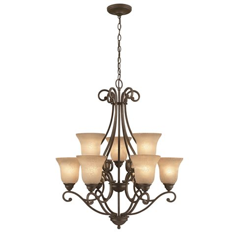 foyer chandeliers lowes shop portfolio linkhorn 9 light iron chandelier at