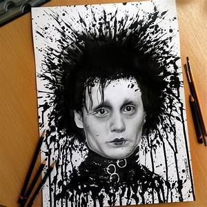 Edward Scissorhands Splatter Drawing by AtomiccircuS on ...