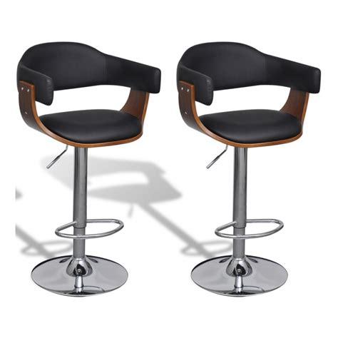 lot de 2 tabourets de bar noir et bois design moderne 1202019 cuisine