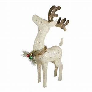 37, U0026quot, White, And, Brown, Lighted, Sparkling, Standing, Reindeer, Outdoor, Christmas, Decor