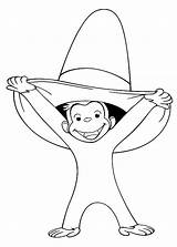 Curious George Coloring Pages Printable Sheets Hat Monkey Wiggles Colouring Birthday Books Template Stimulate Skills Motor Fine Funny Alifiah Biz sketch template