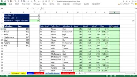 excel  statistical analysis  simple random