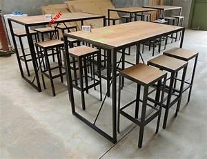 Table Haute Bois Metal : table bar style industriel en m tal et vieux bois recycl sillas pinterest bar counter ~ Teatrodelosmanantiales.com Idées de Décoration