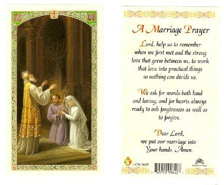 marriage laminated prayer card marriage prayer