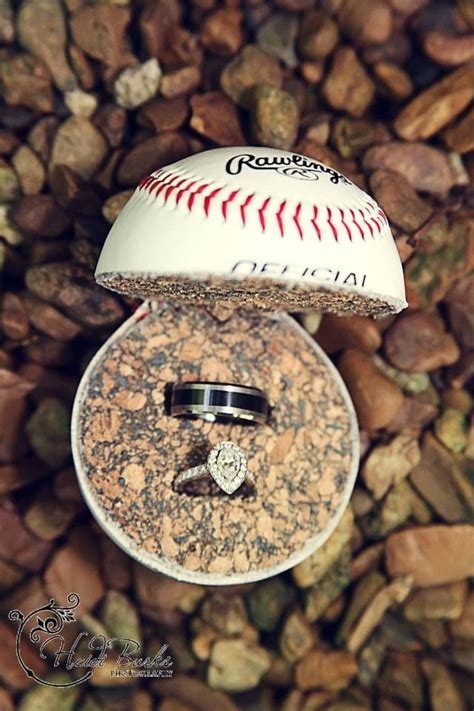wedding rings in baseball heidi burks photography heidi