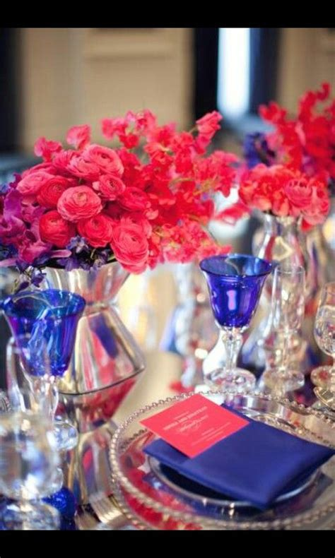 royal blue table decorations royal blue fushia table setting wedding pinterest