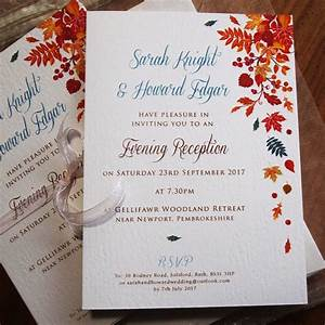 autumn wedding invitations falling leaves design paper With wedding invitations for november