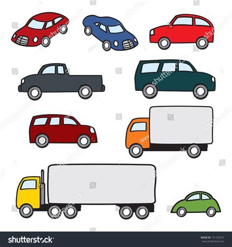 Assortment Various Types Cartoon Cars Trucks Stock Vector