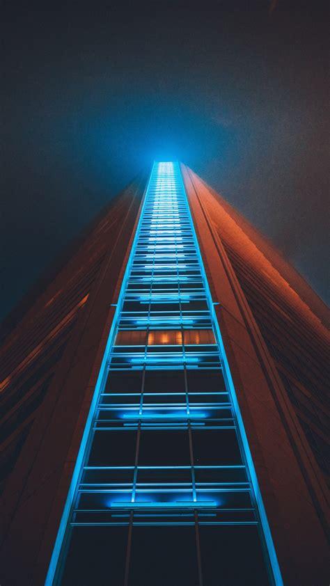 building skyscraper structure night wallpaper