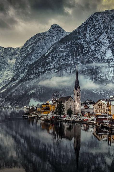 wallpaper hallstatt austria houses lake mountains