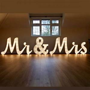 light up mr mrs letters set joined writing style with With 3ft marquee letters
