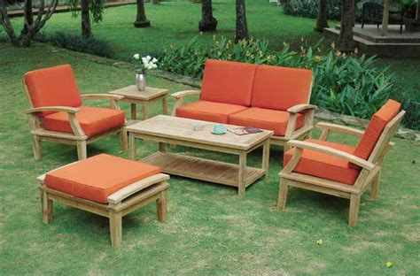 outdoor table set with cushion wood outdoor furniture