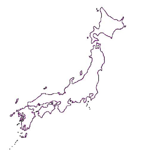 map  japan terrain area  outline maps  japan