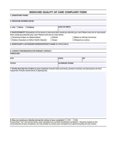 free 8 medicare complaint form sles in sle exle format