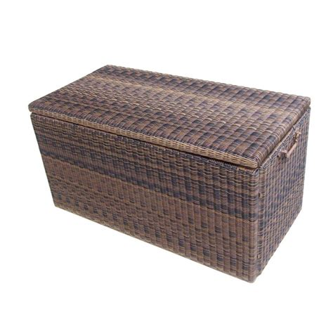 deck storage garden treasures wicker deck storage box