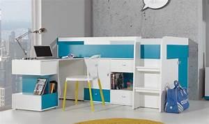 Lit Bureau Enfant : lit enfant avec bureau coulissant et rangements jolly ~ Farleysfitness.com Idées de Décoration