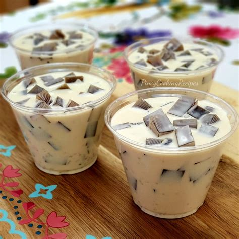 Coffee jelly is a unique dessert that consists of coffee flavored gelatin that is served with cream. Coffee Jelly