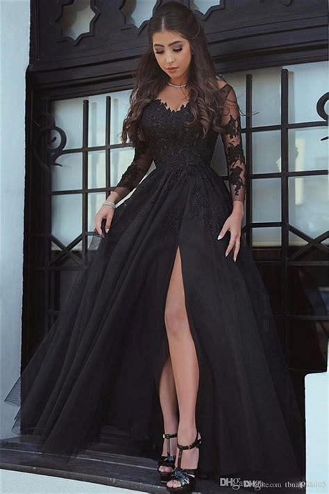 Black Long Sleeve Prom Dresses Appliques Tulle Open Leg ...