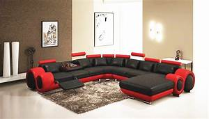 gemma modern black and red sectional sofa leather sectionals With sectional sofas red and black