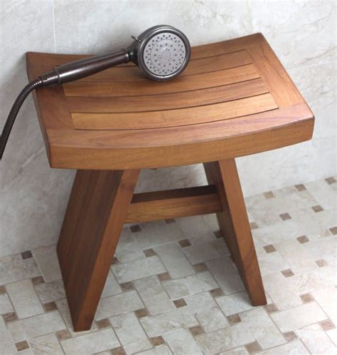 original asian style  teak shower bench
