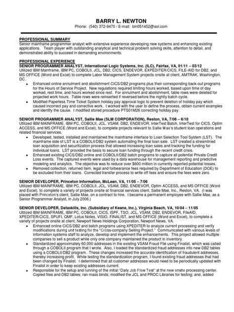 Mainframe Developer Resume Summary by Mainframe Programmer Analyst Applications In Washington Dc Resume Barry Newton Ibm