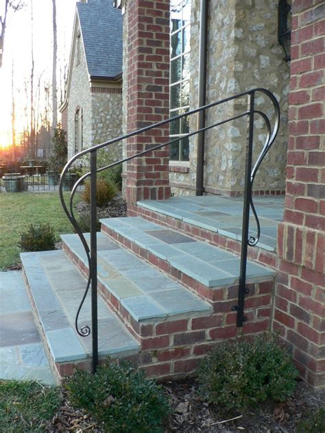 Wooden Exterior Stairs With Metal Railings Handrail Kits