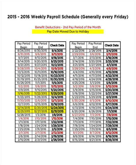 payroll schedule templates word docs