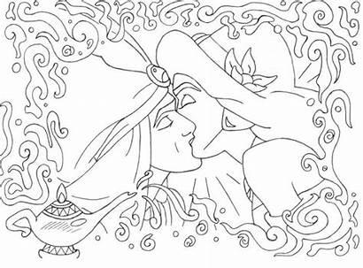 Jasmine Aladdin Coloring Disney Kiss Colouring Snow