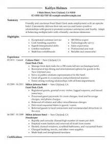 front desk resume hotel best front desk clerk resume exle livecareer